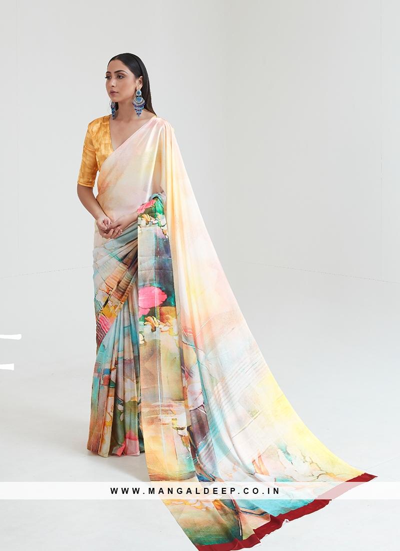 Gorgeous Multi Color Printed Saree