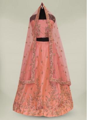 Gorgeous Peach Color Silk Lehenga