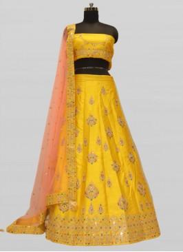 Gorgeous Silk Mirror Work Yellow Lehenga