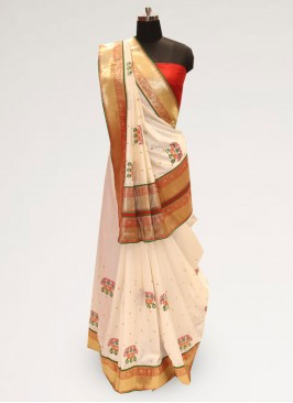Graceful Cream Color Party Wear Designer Saree