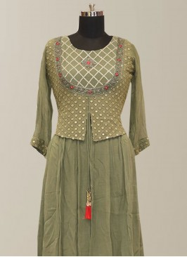 Graceful Green Color Function Wear Designer Kurti