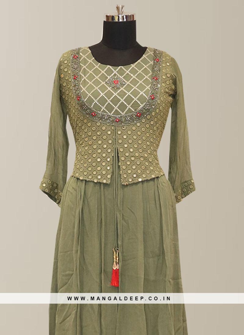 Graceful Green Color Function Wear Designer Kurti