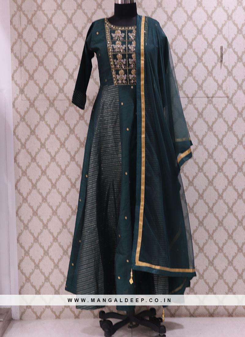 Graceful Green Color Function Wear Designer Suit
