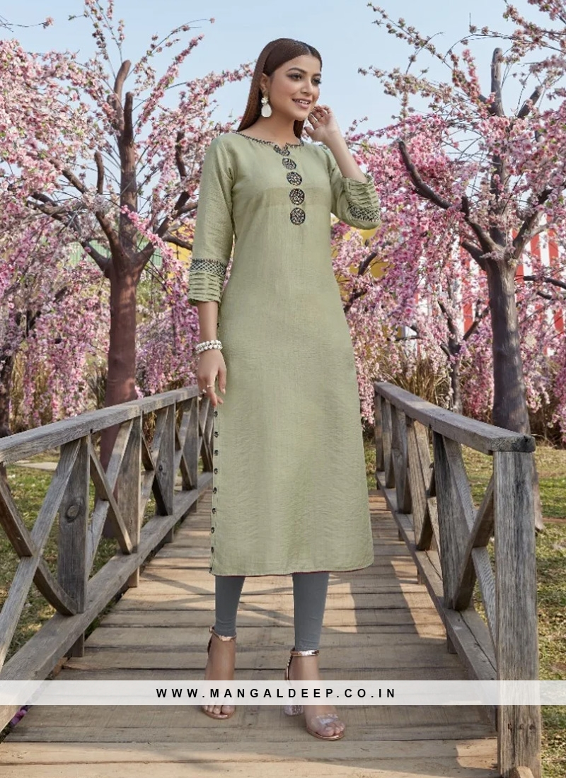 Graceful Green Color Party Wear Designer Kurti