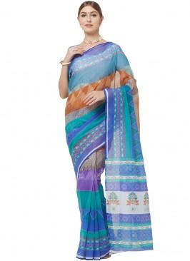 Graceful Multi Color Cotton Printed Saree