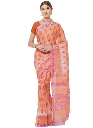 Graceful Orange Color Cotton Printed Saree