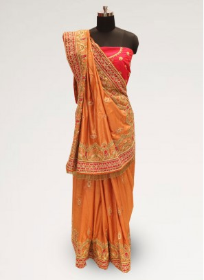 Graceful Orange Color Function Wear Silk Saree