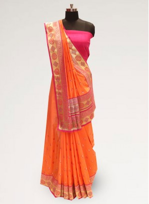 Graceful Orange Color Party Wear Designer Saree