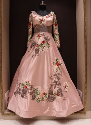Graceful Peach Color Wedding Wear Fancy Gown