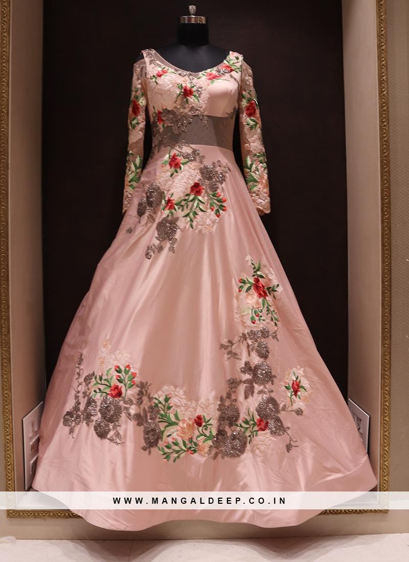 Graceful Peach Color Wedding Wear Fancy Gown