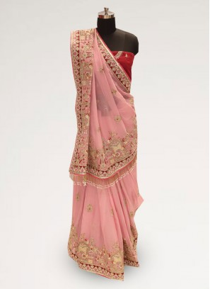 Graceful Pink Color Function Wear Silk Saree