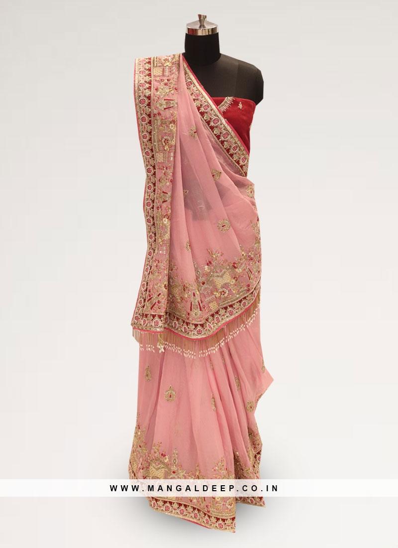 Graceful Pink Color Function Wear Silk Saree