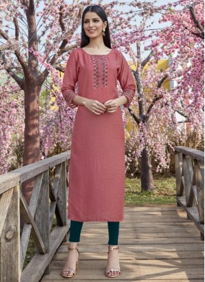 Graceful Pink Color Party Wear Designer Kurti
