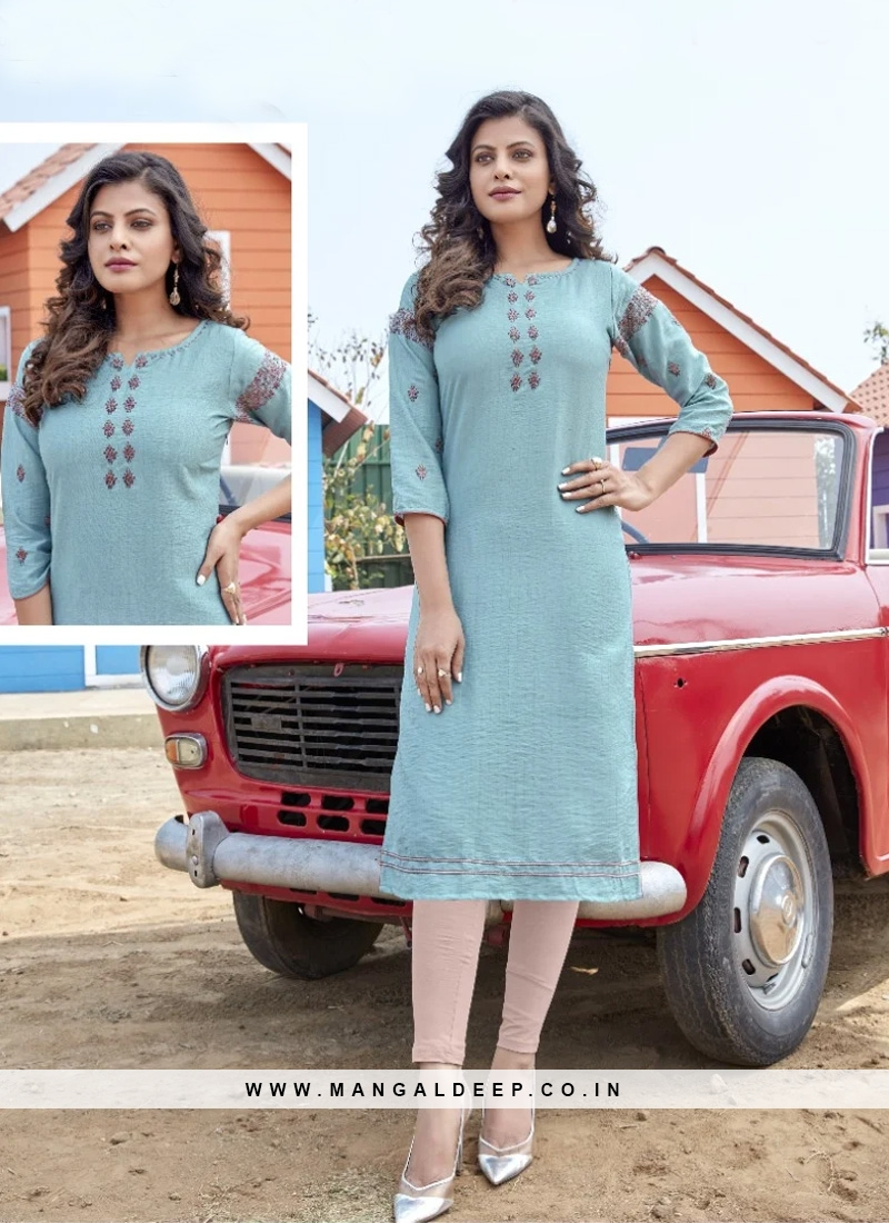Graceful Sky Blue Color Party Wear Designer Kurti