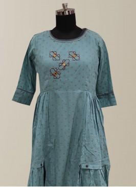 Graceful Teal Color Function Wear Designer Kurti