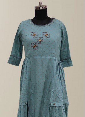 Graceful Teal Color Function Wear Designer Kurti