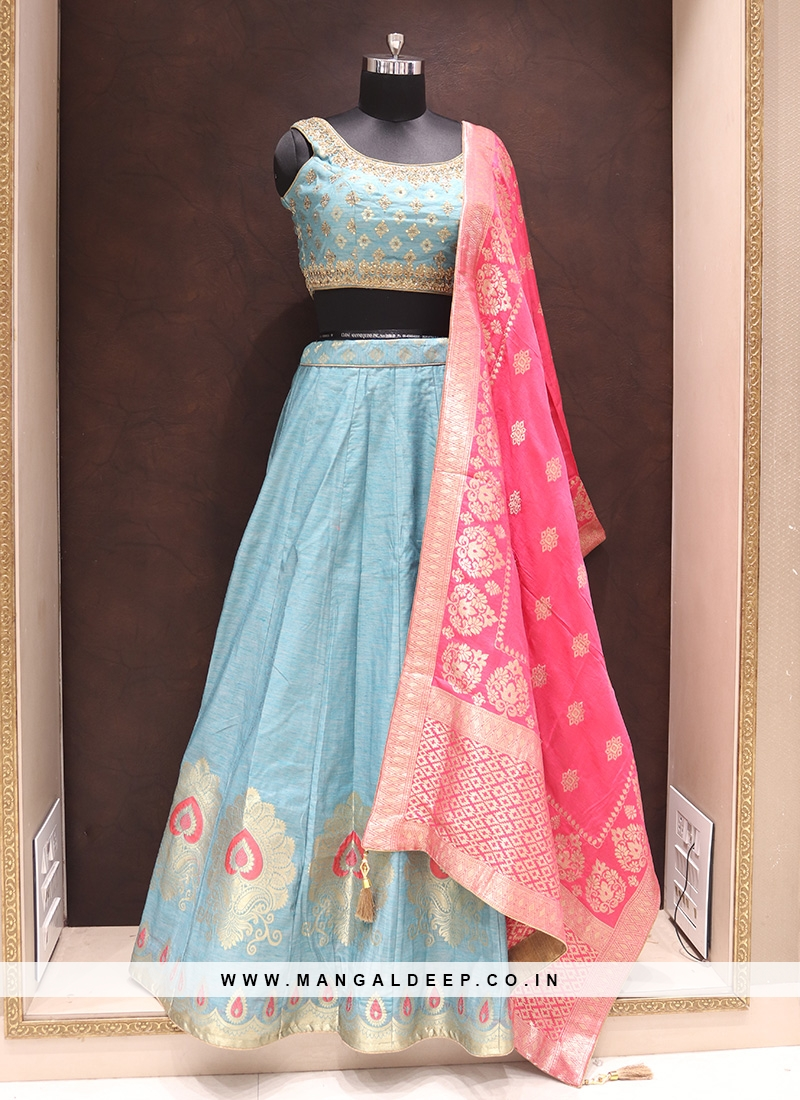 Graceful Turquoise Color Wedding Wear Fancy Lehenga Choli