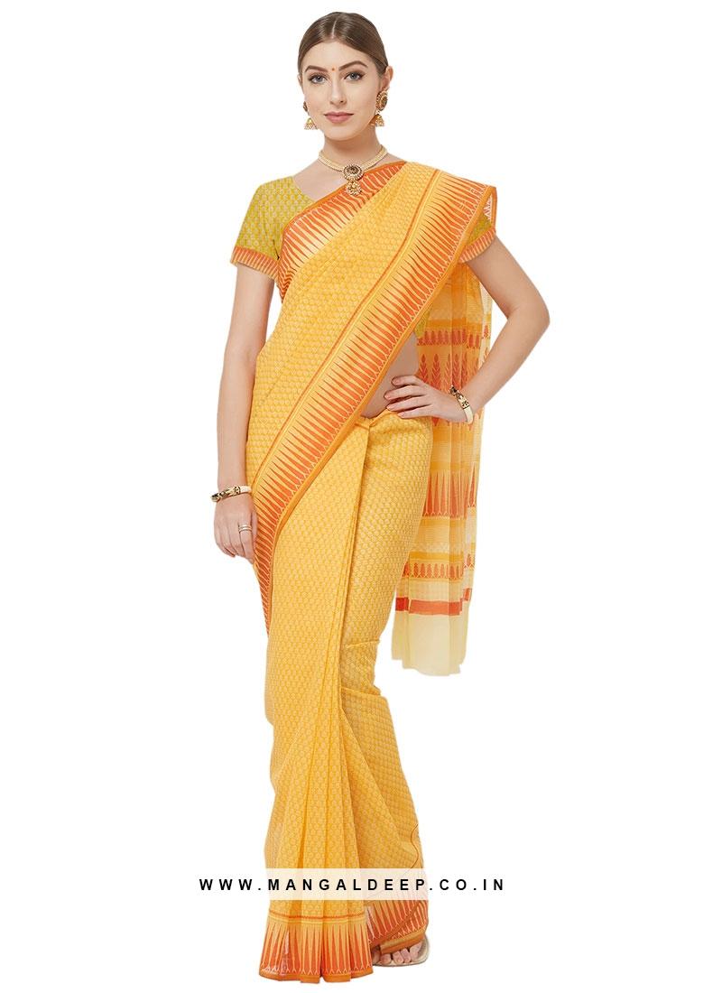 Graceful Yellow Color Cotton Printed Saree
