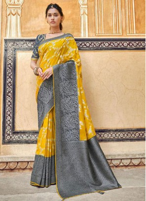 Yellow Color Embroidered Fancy Designer Saree