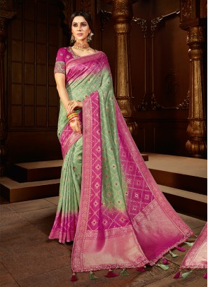 Green And Pink Color Silk Festive Wear Saree