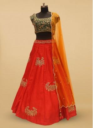 Green And Red Hand Work Silk Bridal Lehenga