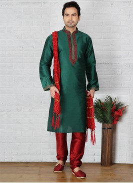 Green Art Dupion Silk Kurta Pajama