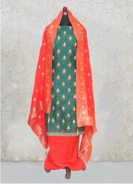 Green Chanderi Silk Gota Work Salwar Kameez