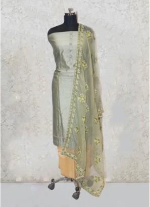 Green Chanderi Silk Pearl Salwar Kameez