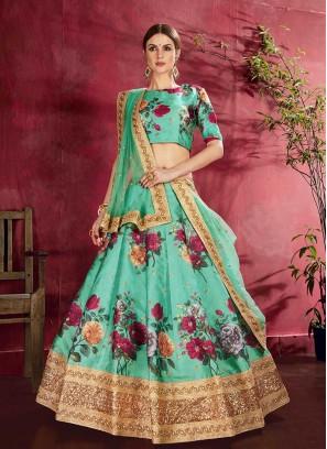Green Color Art Silk Floral Print Lehenga
