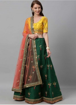 Green Color Art Silk Mehndi Wear Lehenga