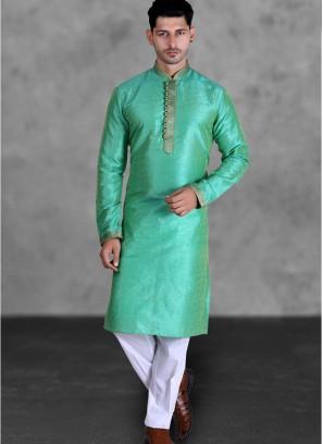 Green Color Art Silk Mens Kurta Set