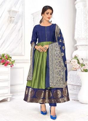 Green Color Banarasi Silk Kurti With Dupatta