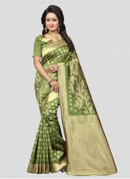Green Color Banarasi Silk Sarees