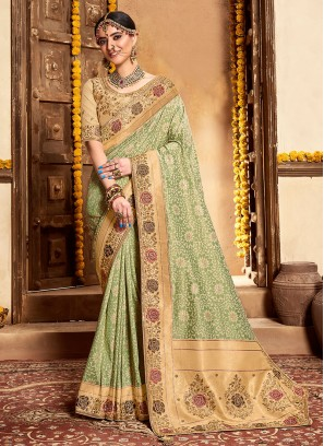 Green Color Banarsi Silk Saree For Wedding