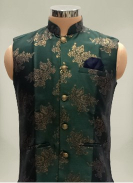 Green Color Brocade Silk Mens Koti