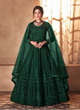 Green Color Butterfly Net Frock Suit
