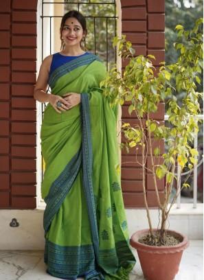 Green Color Chanderi Cotton Simple Saree