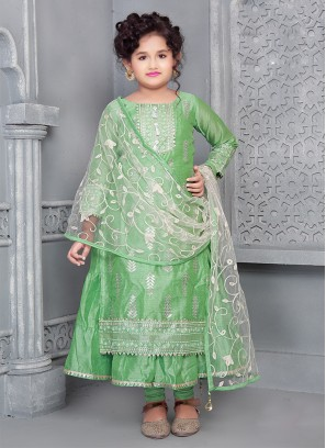 Green Color Chanderi Fabric Foil Work Girls Suit
