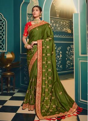 Green Color Chiffon Fancy Saree