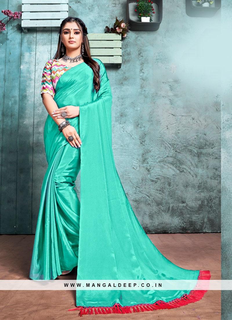 Green Color Chiffon Plain Saree