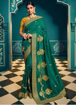 Green Color Chiffon Stylish Saree