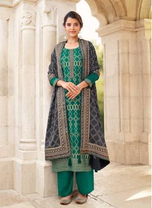 Green Color Chinnon Plazzo Dress