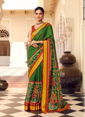 Green Color Classic Print Saree