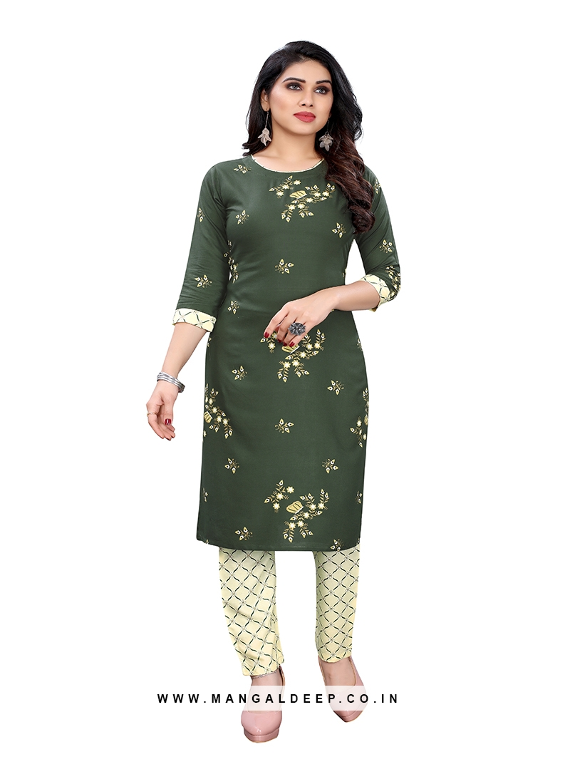 Green Color Cotton Printed Kurti With Pant