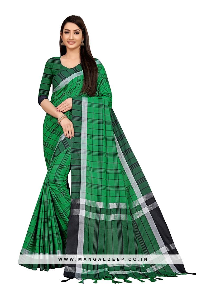 Green Color Cotton Silk Checks Pattern Saree