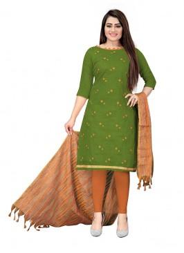 Green Color Cotton Unstitched Salwar Kameez