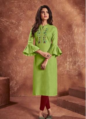 Green Color Cotton Women Kurti