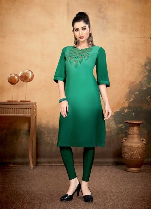 Green Color Embroidered Cotton Kurti