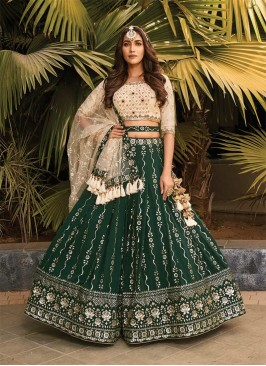 Green Color Embroidered Mehndi Wear Lehenga