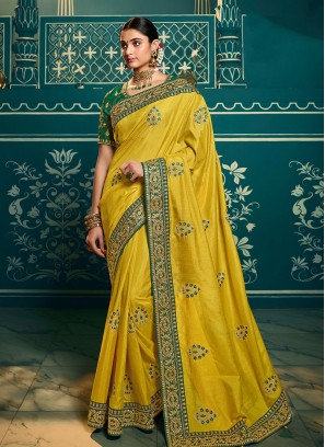 Green Color Embroidered Party Wear Saree